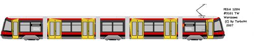 PESA 120N #3101 - TW Warszawa. Najnowszy nabytek Tramwajów Warszawskich - tramwaj w 100% niskopodłogowy.
