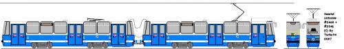 Konstal 105NWr #2460 + #2541 - MPK Wrocław. Pierwszy zmodernizowany skład. Wyróżnia się brakiem lewego lusterka oraz niepełnymi osłonami dachowymi. (Potem zostały zunifikowane z innymi Kartoflami.)