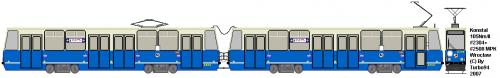 Konstal 105Nm/II #2304 + #2508. Modernizacja wykonana przez Protram. Tramwaj został wyposażony w: nowe wózki z lepszą amortyzacją, wyświetlacze, pantograf połówkowy, nowe siedzenia, nowy pulpit oraz przetwornicę statyczną.