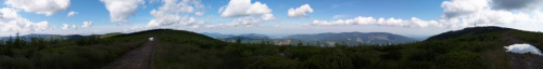 Szeroka panorama między obiema gorami Skrzyczne na Czantorię i Klimczok #skrzyczne #beskid #panorama #krajobraz #barania
