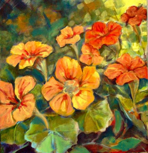 nasturcje z mojego ogródka olej 50-50 #kwiaty #nsturcje #obraz #malarstwo