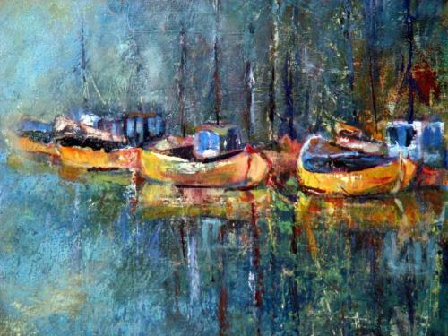 w porcie akryl #łodzie #malarstwo