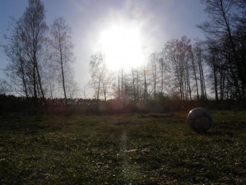 Łąka.... #łąka #słońce #piłka #drzewa